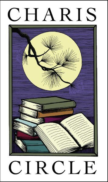 """The image is the logo of Charis Circle. The logo has an image in the center of several books stacked on one another. In the background, there is a full moon, slightly covered by a hanging tree branch. Above the image, it reads """"CHARIS"""" in bold, black letters and below the image, it reads """"CIRCLE"""" in the same font."""