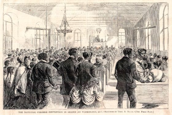 A black and white engraving that depicts the 1869 National Colored Convention held in Washington, D.C. The setting is a large, crowded convention hall with a raised podium at the front-center and rows of bench seating beneath it. The image shows a concentration of men at the podium and near the front, whereas women are seated in the rear.