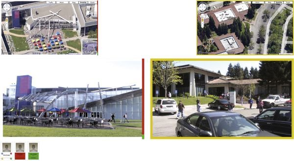 A collage of screenshots from the film, Workers Leaving the Googleplex. Each is a view of Google's headquarters. The top two images are birds-eye views and the bottom two images are ground-level views.