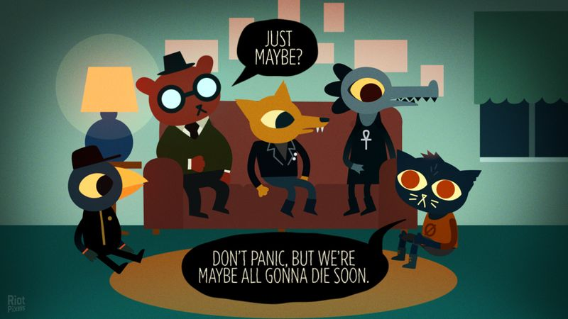 Mae and her friends - all anthropomorphic animals - sit on and around a sofa. In speech bubbles, Mae says 'Don't panic, but we're maybe all gonna die soon.' Her friend, Angus, responds 'Just maybe?'