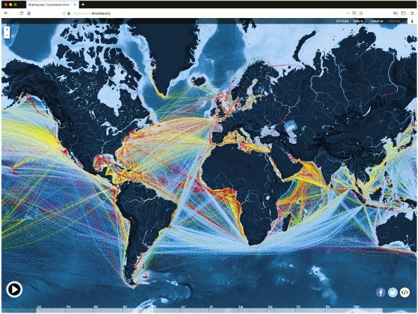 A world map which shows global shipping routes, represented by thin colorful lines. The lines are colored based on the type of freight transported by the ship: Yellow for Containers, Blue for Dry Goods, Red for Liquids, Green for Gas, and Purple for Vehicles. The entire map is covered with shipping routes, emphasizing the complexity of the world's waterway network.