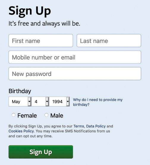 A screenshot of Facebook's sign up page circa 2018, where users must choose from one of two categories: Female or Male.