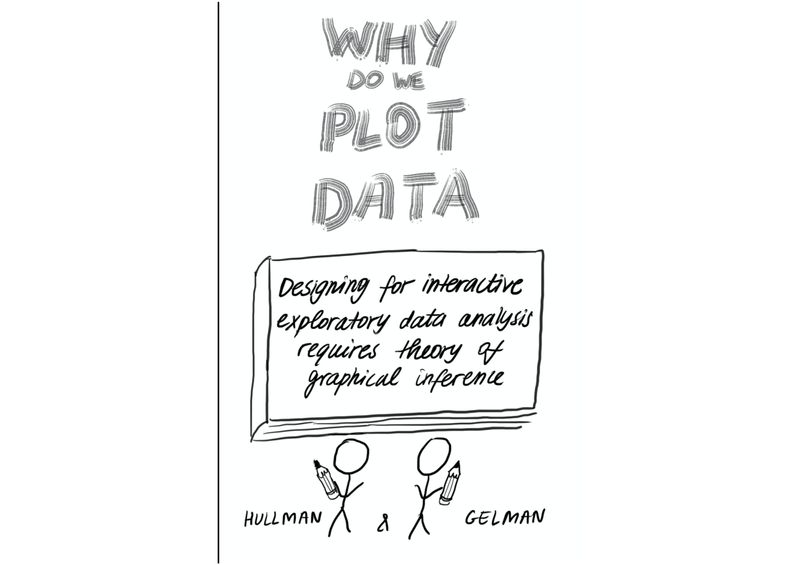 """Front Cover  The title text is """"Why do we plot data"""" This is written in large block letters.  There is a book with the title """"Designing for interactive exploratory data analysis requires theory of graphical inference"""" on it.  There are cartoon versions of authors Jessica Hullman and Andrew Gelman, complete with pencils in hand."""
