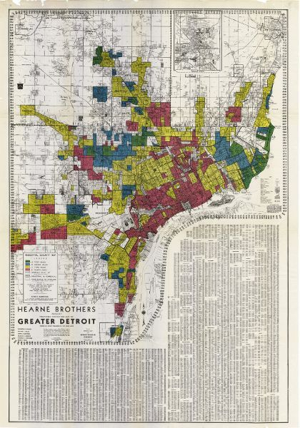 A map of the greater Detroit area in 1939 which shows the level of risk for bank loans across the city. Neighborhoods which are deemed highest-risk for bank loans are highlighted in Red, followed by those highlighted in Yellow, then Blue, and eventually Green, which represents neighborhoods which are deemed low-risk for bank loans. Almost all of the Black neighborhoods are highlighted in red.