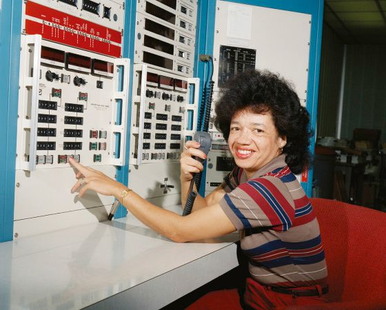 Christine Darden, photographed in the control room of the Unitary Plan Wind Tunnel at NASA's Langley Research Center in 1975.
