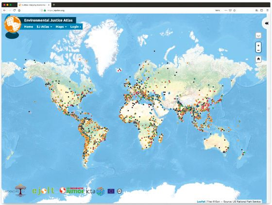 A screenshot of the Environmental Justice Atlas, a map which shows the locations of ecological conflicts around the world, denoted by small circle markers. Each marker is one of ten colors, which represent the ten different categories of ecological conflict: Nuclear, Mineral Ores and Building Extractions, Waste Management, Biomass and Land Conflicts, Fossil Fuels and Climate Justice/Energy, Water Management, Infrastructure and Built Environment, Tourism Recreation, Biodiversity Conservation Conflicts, and Industrial and Utilities Conflicts. Users can hover over and select different markers to read and learn more about that specific conflict.