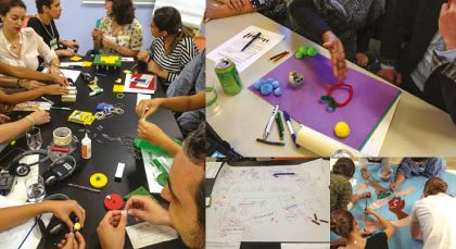 A collage of smaller images which show the different steps that go into creating a data mural. One image shows a group of people working and conversing around a cluttered black desk. The next shows a person creating a prototype for the data mural with craft materials including cotton balls and pipe cleaners. The next image shows a hand-drawn bubble map that organizes the data analysis as well as the final message. The final image shows a group of people sitting on the floor, painting the actual data mural.