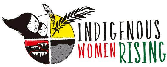 """The image is the logo of Indigenous Women Rising. The logo reads in bold, capital letters """"INDIGENOUS WOMEN RISING."""" To the left of the text, there is a circle which is split into four quadrants. In the top left quadrant, there are two women in it. In the top right quadrant, there are a couple of wheat spikes. In the bottom left quadrant, there are several mountains. In the bottom right quadrant, there is a dark cloud, with rain pouring under it."""