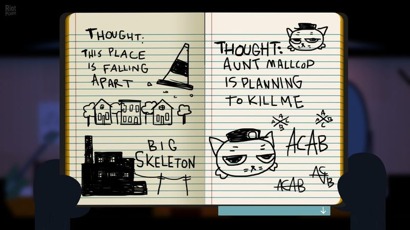 A diary page with notes and sketches. The main text reads 'Thought: this place is falling apart' and 'Thought: Aunt Mallcop is planning to kill me.'